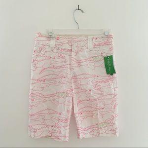 LILLY PULITZER NWT Alligator Pink Bermuda Shorts